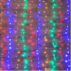 """Гирлянда """"Светодиодный Дождь"""" 1,5х1м, свечение с динамикой, прозрачный провод, 220В, диоды МУЛЬТИКОЛОР"""