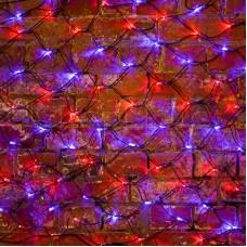 Гирлянда - сеть 2х0,7м, черный ПВХ, 176 LED Красные/Синие
