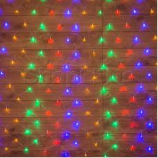 Гирлянда - сеть 1х1,5м, прозрачный ПВХ, 96 LED Мультиколор