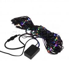 Гирлянда - сеть 1х1,5м, черный ПВХ, 160 LED Мультиколор