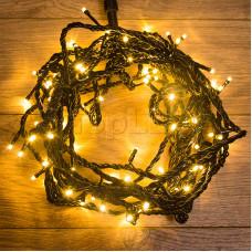 Гирлянда Твинкл Лайт 10 м,  черный ПВХ, 100 диодов, цвет золотой